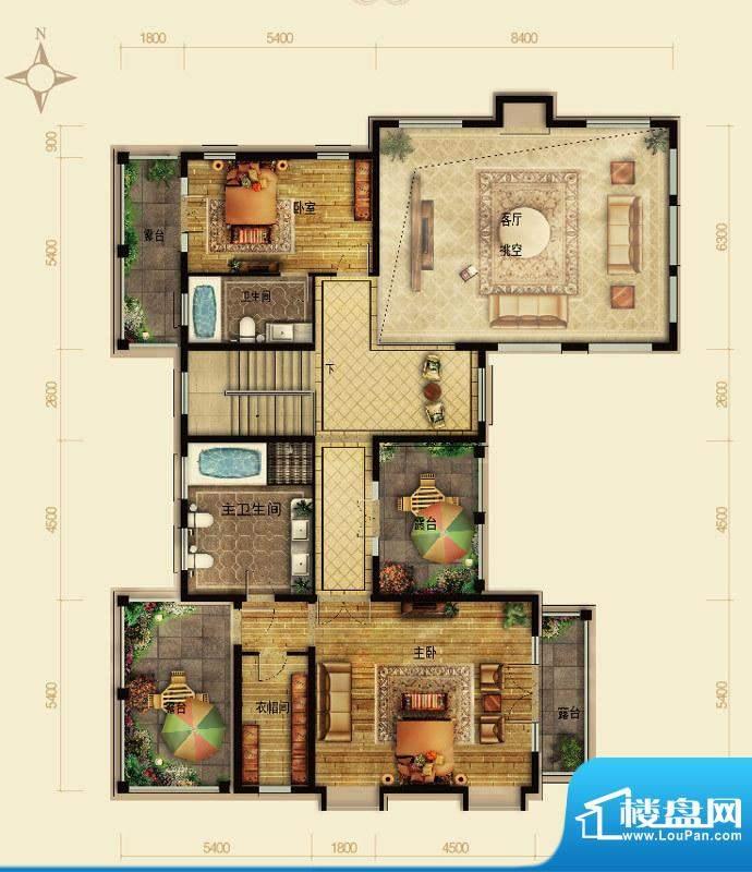 天恒·半山世家P户型2层 4室2厅面积:132.20平米
