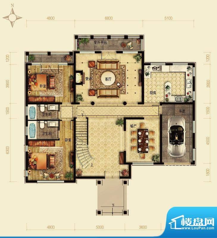 天恒·半山世家F户型首层 4室2面积:216.65平米