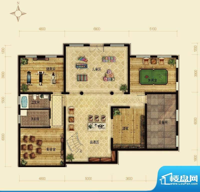 天恒·半山世家F户型半地下 4室面积:195.79平米
