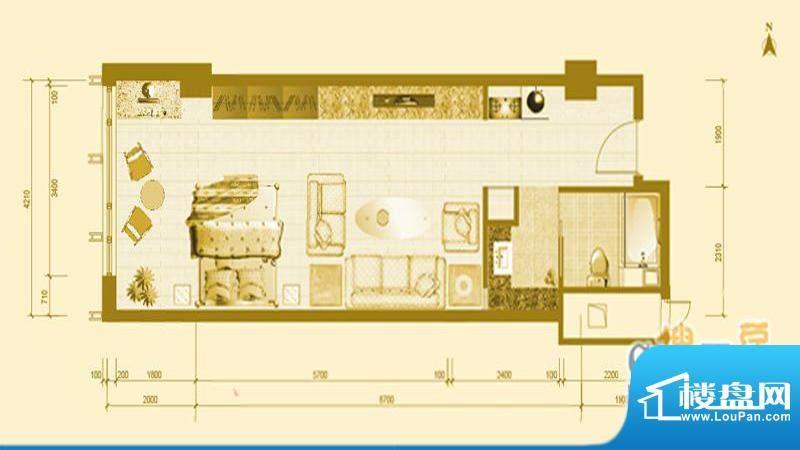 专家国际公馆A4户型图 1室1厅1面积:53.05平米