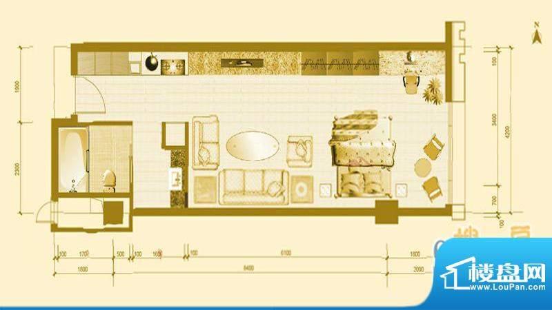 专家国际公馆A6户型图 1室1厅1面积:51.24平米