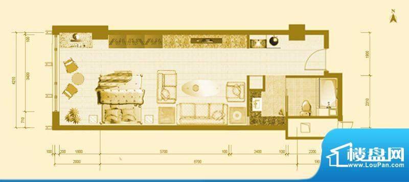 专家国际公馆A4户型 1室1厅1卫面积:53.05平米
