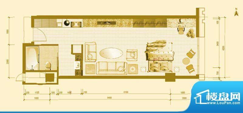 专家国际公馆A6户型 1室1厅1卫面积:51.24平米