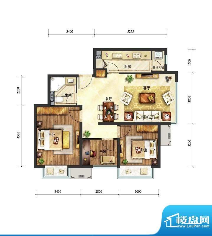 富力童话时光三居户型图 3室2厅面积:89.00平米