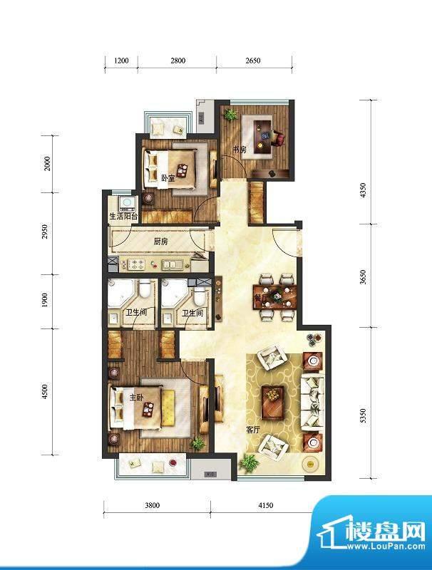 富力童话时光三居户型图 3室2厅面积:100.00平米