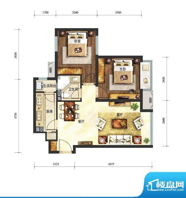 富力童话时光两居户型图 2室2厅面积:78.00平米