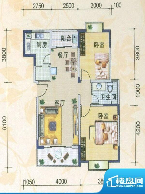 月亮城一、二期C户型 2室2厅1卫面积:86.63平米