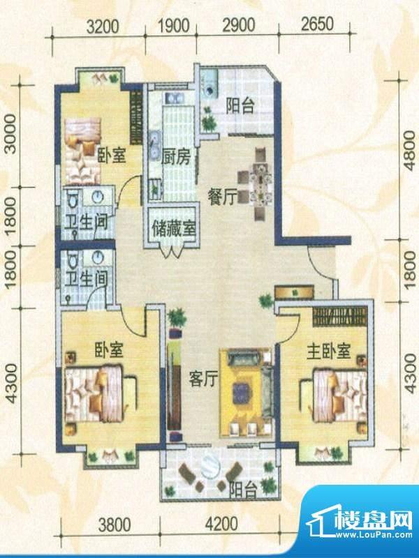 月亮城一、二期E-01户型 3室2厅面积:118.23平米