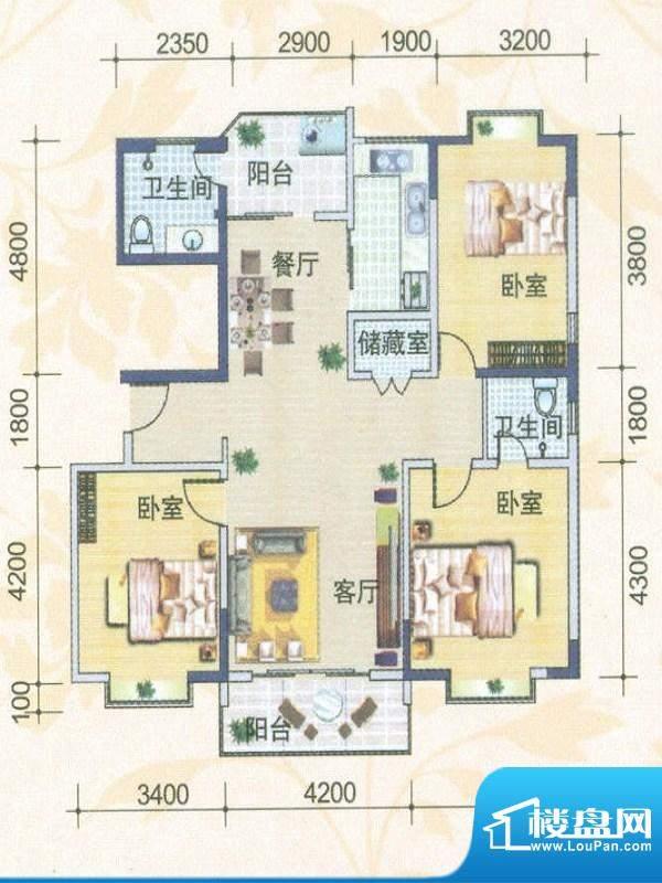 月亮城一、二期E-02户型 3室2厅面积:124.03平米