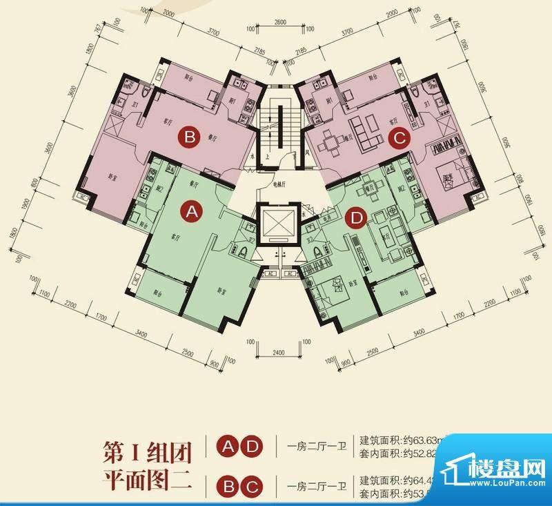 兆南山水汇园第一组团平面图二面积:92.12平米