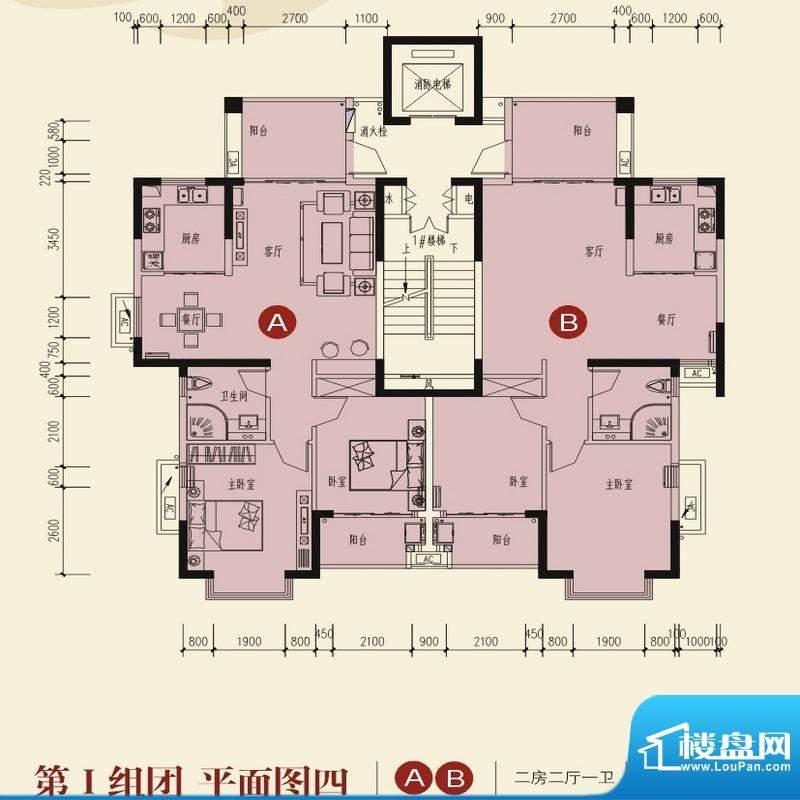兆南山水汇园第一组团平面图一面积:63.63平米