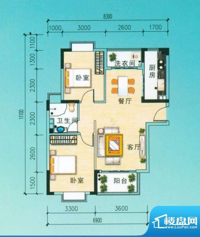 安博南方花园A1户型 2室2厅面积:80.73平米
