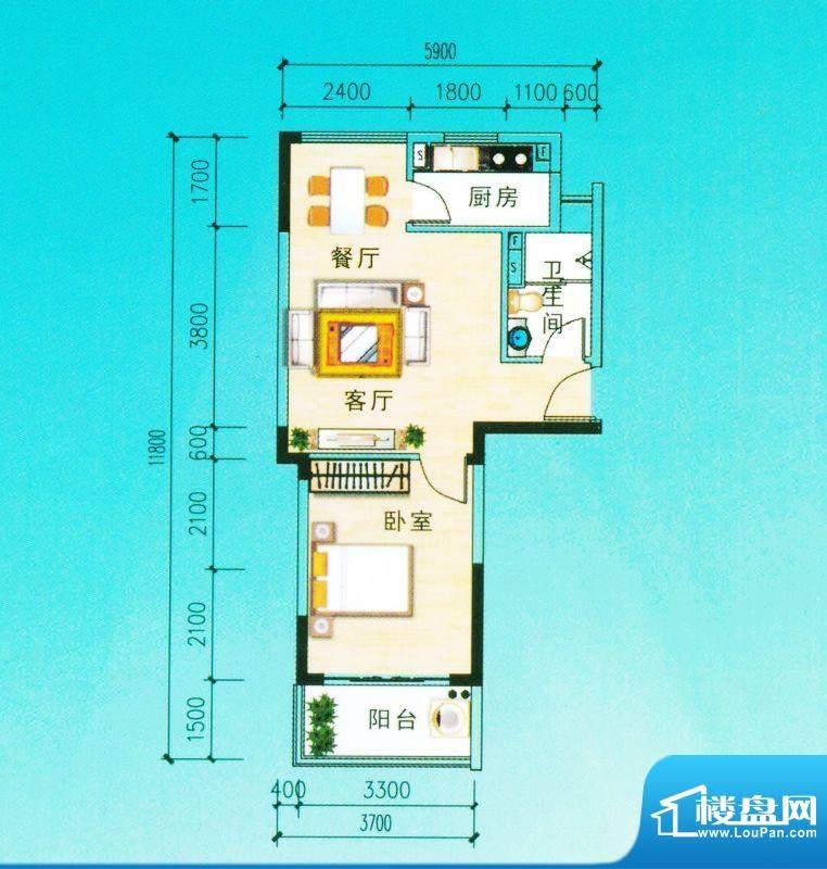 安博南方花园A2户型 1室2厅面积:58.33平米