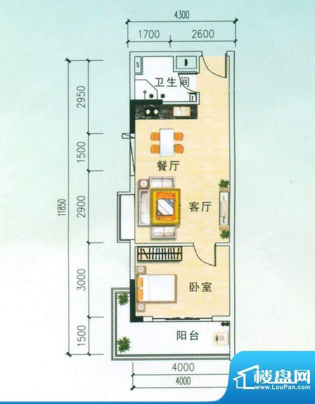 安博南方花园B户型 1室2厅面积:53.58平米