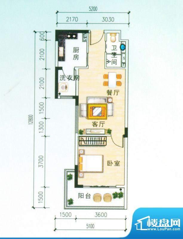 安博南方花园B3户型 1室2厅面积:60.14平米