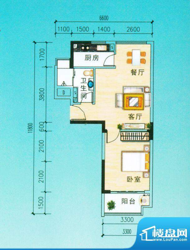 安博南方花园C2户型 1室2厅面积:58.44平米