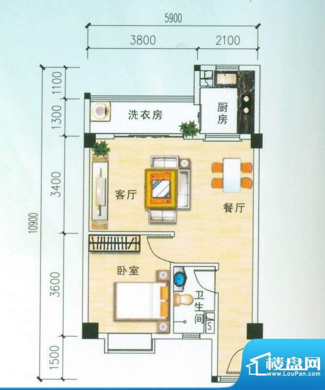 安博南方花园D2户型 1室2厅面积:66.01平米