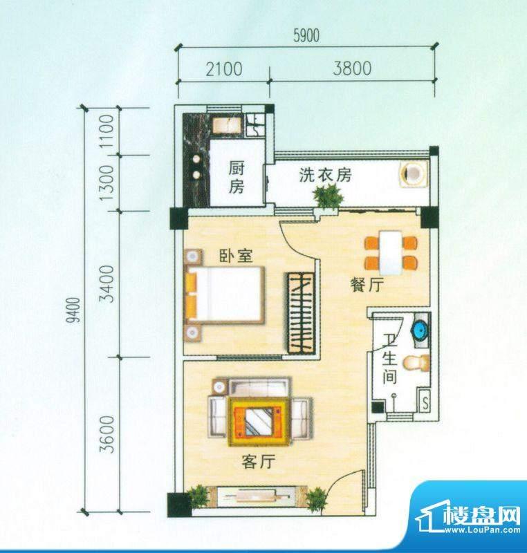 安博南方花园D3户型 1室2厅面积:59.33平米