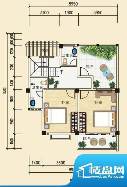 安博南方花园E1跃层 3室3卫面积:147.68平米
