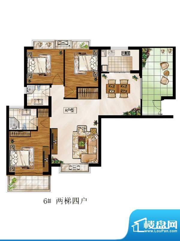 高速仁和盛庭6#A户型 3室2厅2卫面积:129.42平米