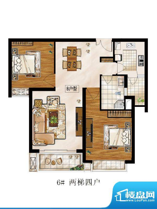 高速仁和盛庭6#B户型 2室2厅1卫面积:94.14平米
