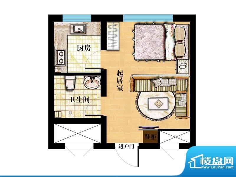 金马怡园高层31#精装户型 1室1面积:39.00平米