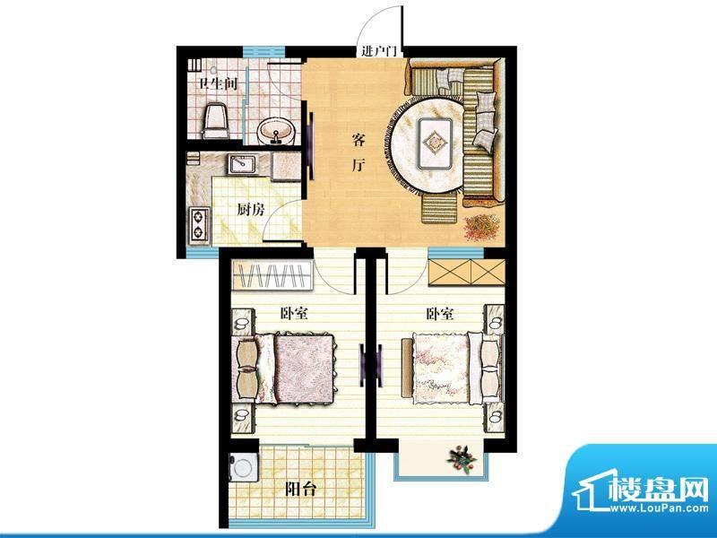 金马怡园高层31# 2室1厅1卫1厨面积:78.00平米