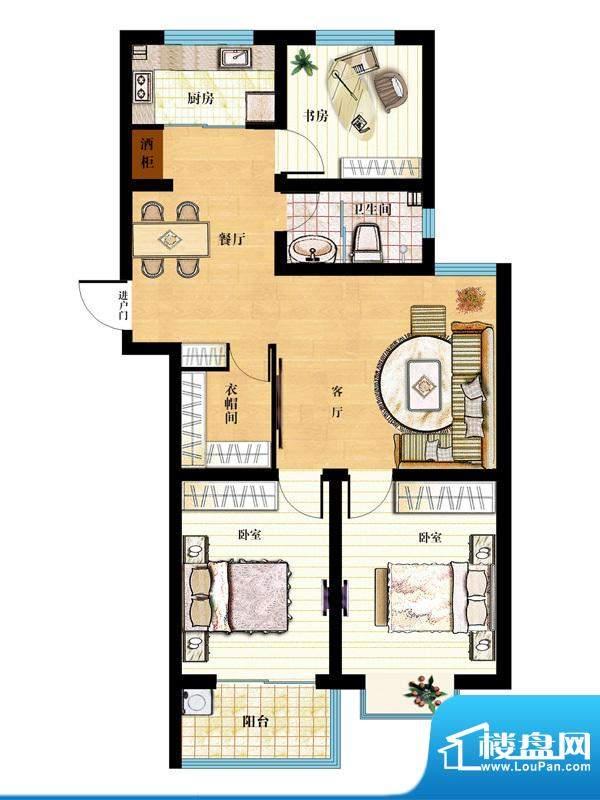 金马怡园高层31# 3室2厅1卫1厨面积:117.00平米