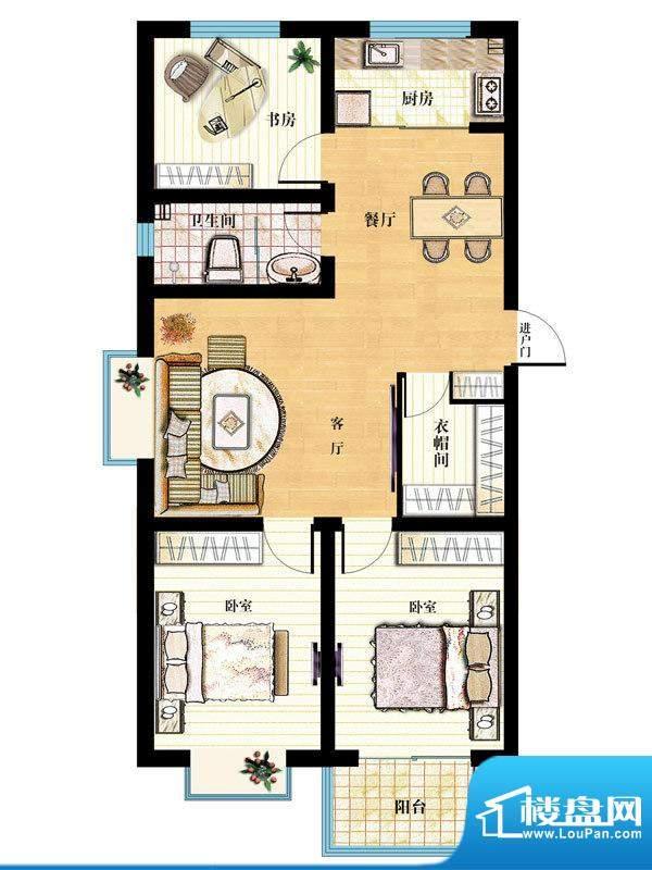 金马怡园高层31# 3室2厅1卫1厨面积:130.00平米