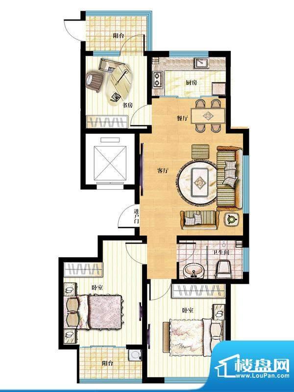 金马怡园高层32# 3室2厅1卫1厨面积:105.00平米