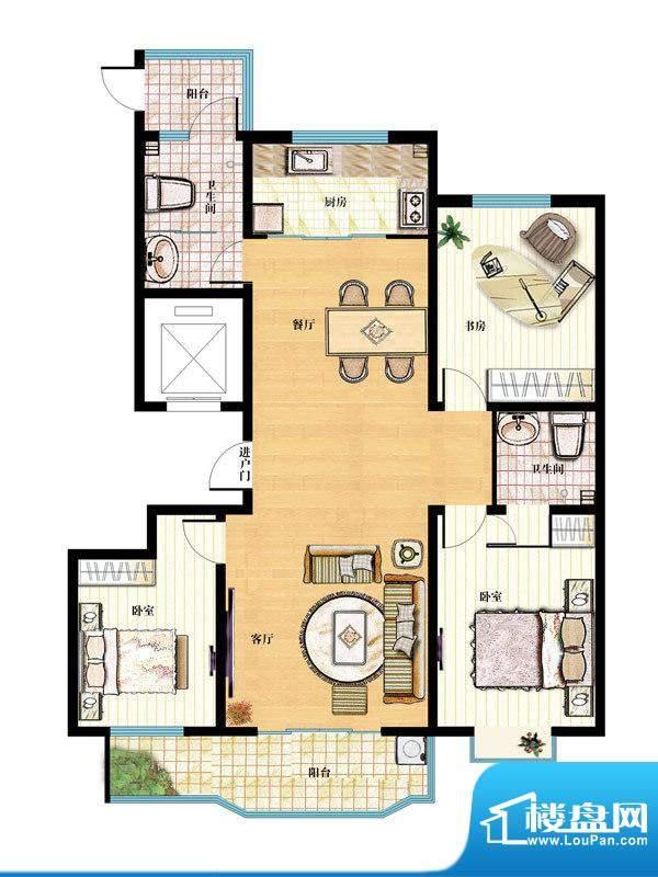 金马怡园高层32# 3室2厅1卫1厨面积:148.00平米