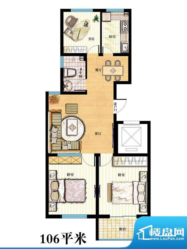 金马怡园高层36# 3室2厅1卫1厨面积:106.00平米