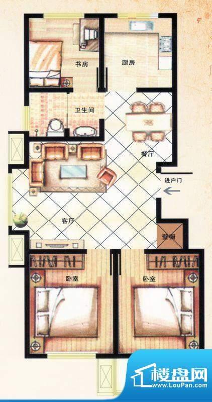 金马怡园高层A户型 3室2厅1卫1面积:115.00平米