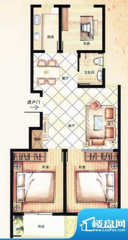 金马怡园高层B户型 3室2厅1卫1面积:102.00平米