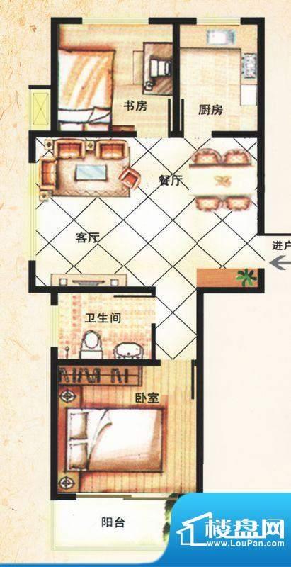 金马怡园高层C户型 2室2厅1卫1面积:82.00平米