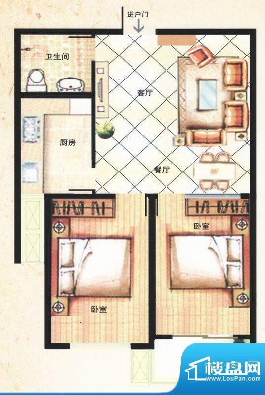 金马怡园高层D户型 2室2厅1卫1面积:82.00平米