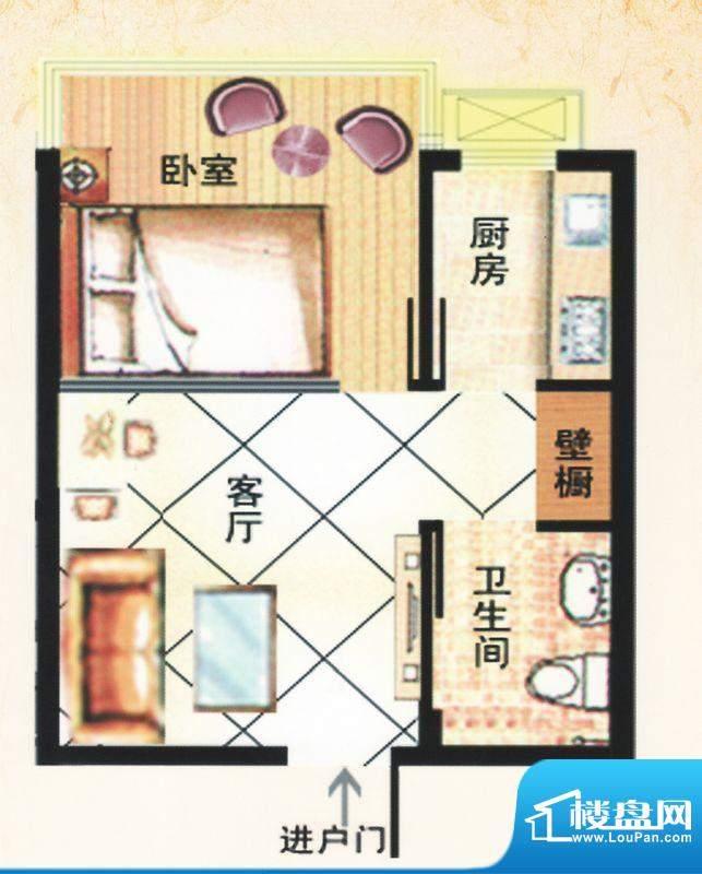 金马怡园高层E户型 1室1厅1卫1面积:38.00平米