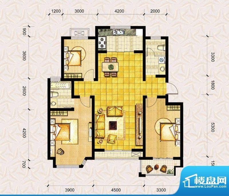 达美水岸二期e1户型 3室2厅2卫面积:131.00平米