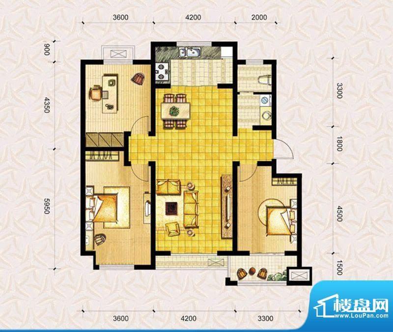 达美水岸二期d2户型 3室2厅1卫面积:122.00平米
