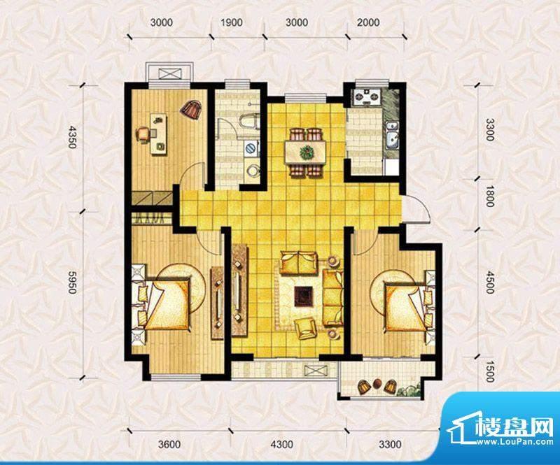 达美水岸二期d3户型 3室2厅1卫面积:117.00平米
