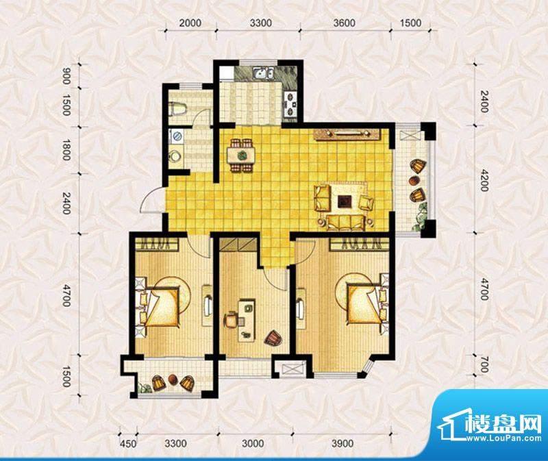 达美水岸二期d5户型 3室2厅1卫面积:118.00平米