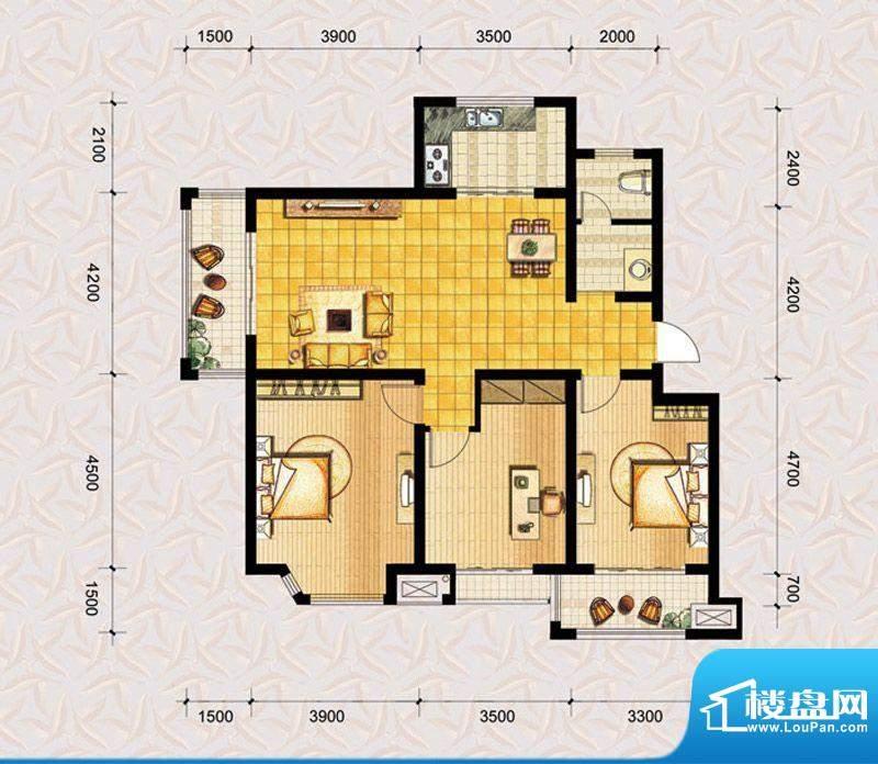 达美水岸二期d6户型 3室2厅1卫面积:117.73平米