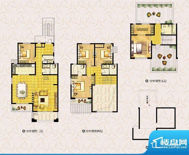 达美水岸二期空中别墅 5室4厅4面积:245.00平米
