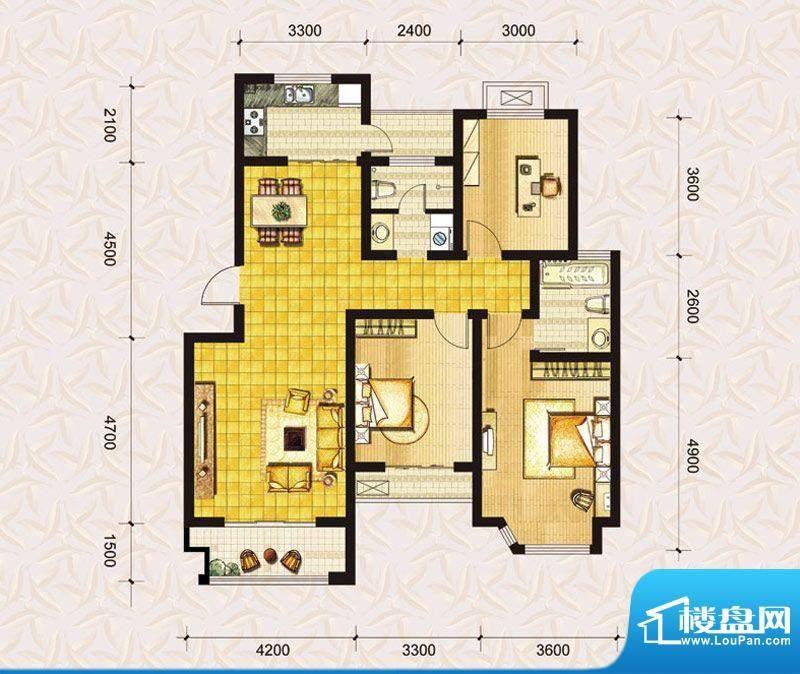 达美水岸二期d1户型图 3室2厅2面积:122.00平米