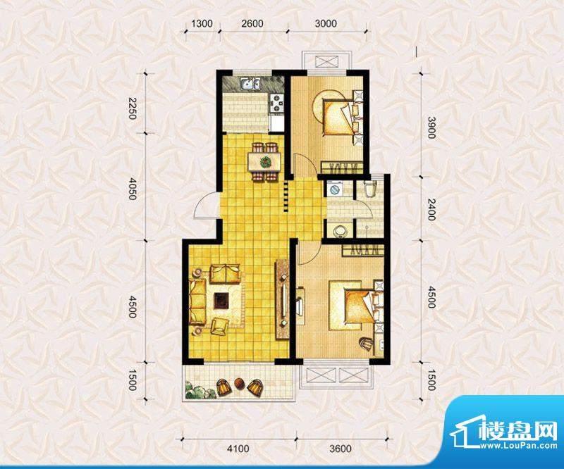 达美水岸二期a1户型 2室2厅1卫面积:89.00平米