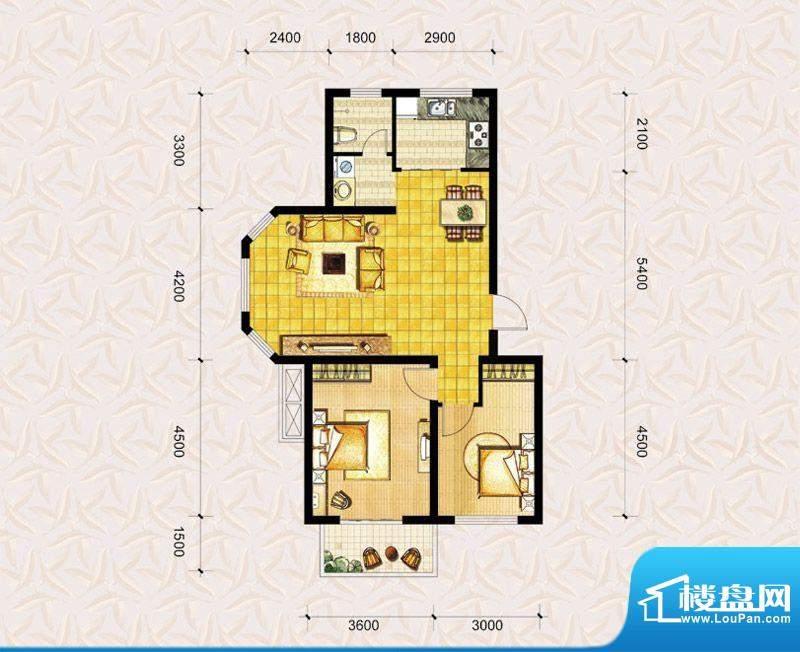 达美水岸二期a3户型 2室2厅1卫面积:91.00平米