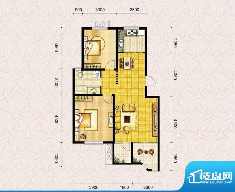 达美水岸二期b2户型 2室2厅1卫面积:101.00平米