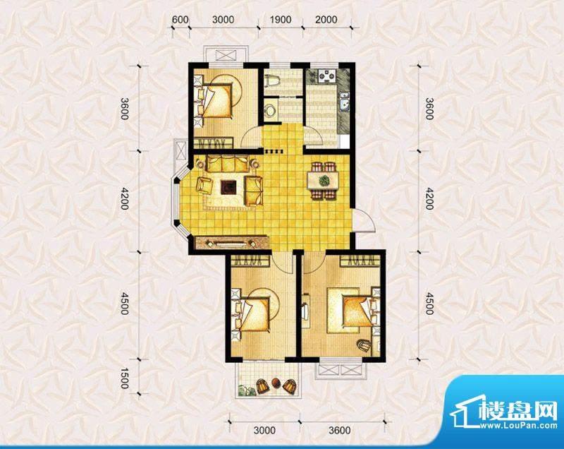 达美水岸二期b3户型 3室2厅1卫面积:103.00平米