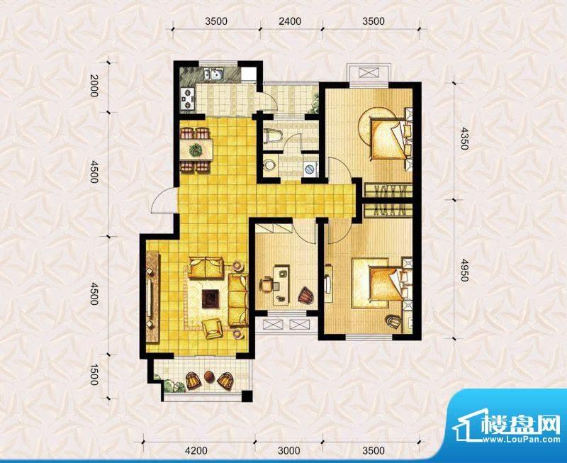 达美水岸二期c1户型 3室2厅1卫面积:113.00平米