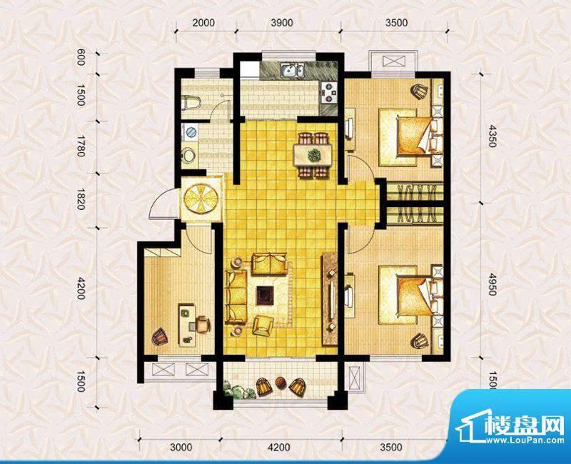 达美水岸二期c2户型 3室2厅1卫面积:112.00平米